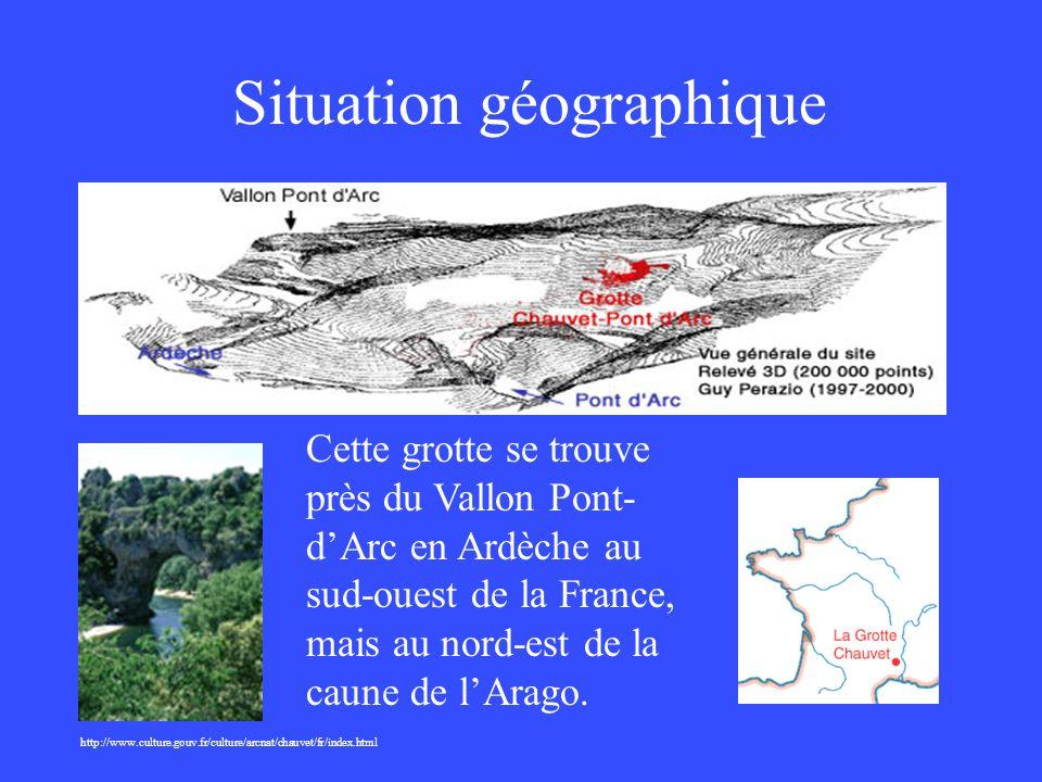 Situation géographique http://www.culture.gouv.fr/culture/arcnat/chauvet/fr/index.html Cette grotte se trouve près du Vallon Pont- dArc en Ardèche au