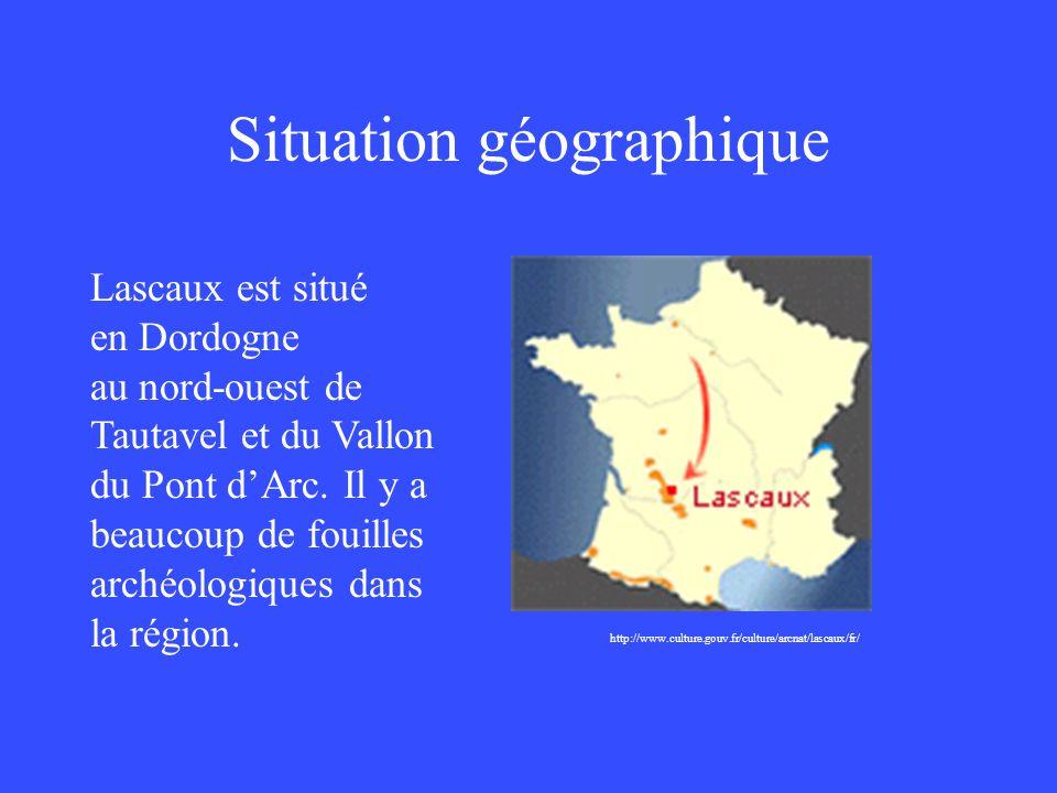 Situation géographique http://www.culture.gouv.fr/culture/arcnat/lascaux/fr/ Lascaux est situé en Dordogne au nord-ouest de Tautavel et du Vallon du P