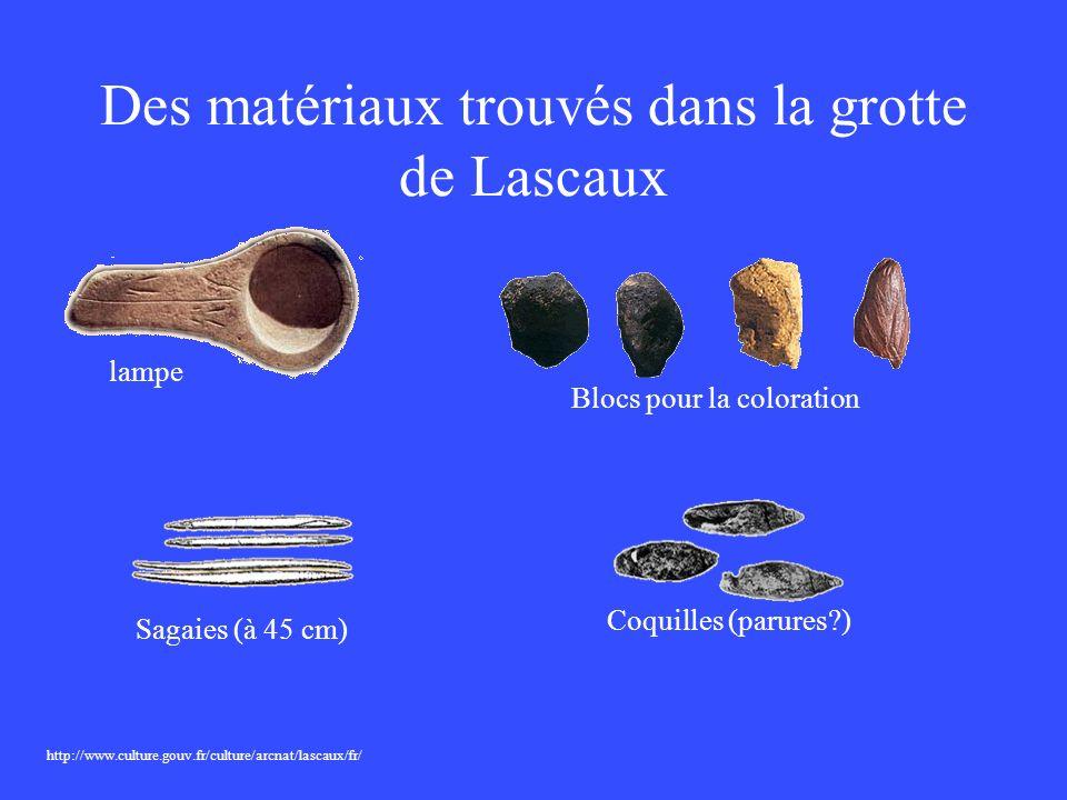 Des matériaux trouvés dans la grotte de Lascaux http://www.culture.gouv.fr/culture/arcnat/lascaux/fr/ lampe Blocs pour la coloration Sagaies (à 45 cm)