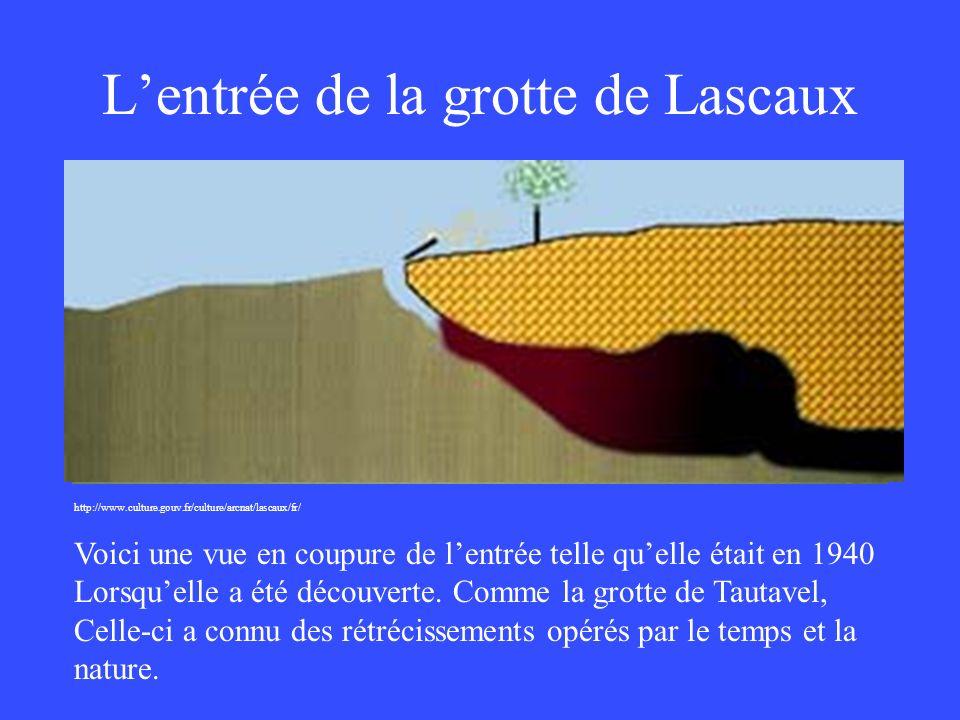 Lentrée de la grotte de Lascaux http://www.culture.gouv.fr/culture/arcnat/lascaux/fr/ Voici une vue en coupure de lentrée telle quelle était en 1940 L