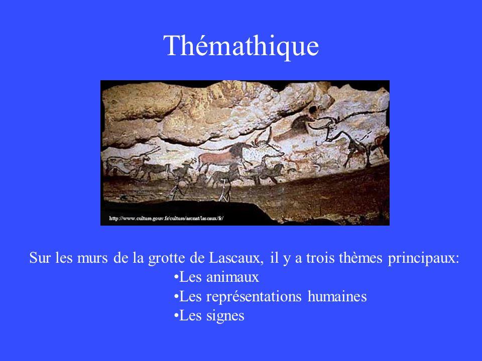 Thémathique Sur les murs de la grotte de Lascaux, il y a trois thèmes principaux: Les animaux Les représentations humaines Les signes http://www.cultu