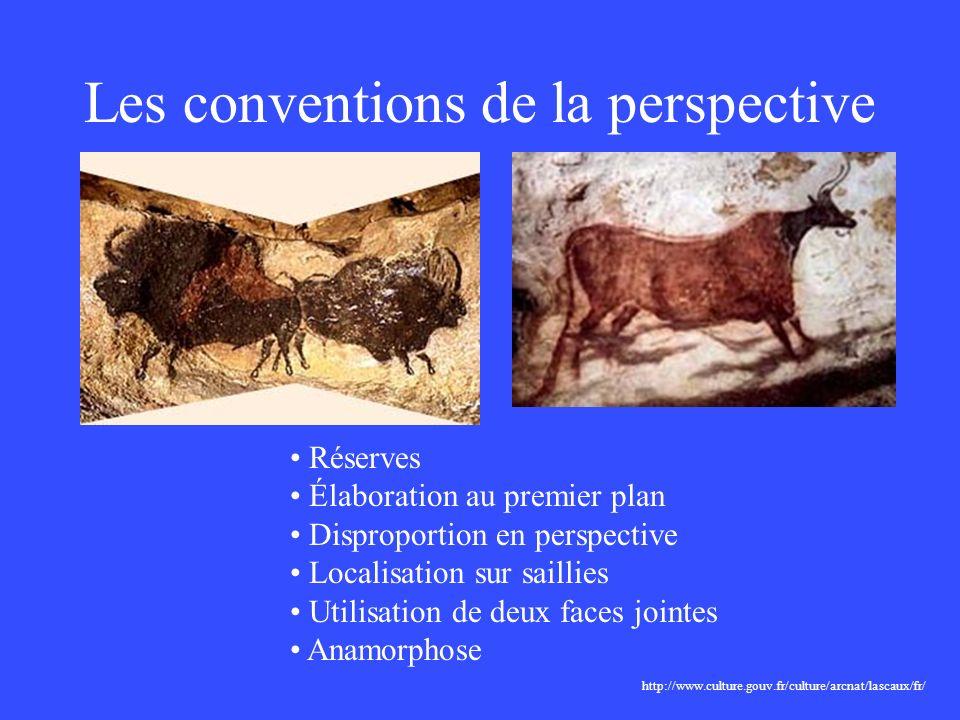 Les conventions de la perspective http://www.culture.gouv.fr/culture/arcnat/lascaux/fr/ Réserves Élaboration au premier plan Disproportion en perspect