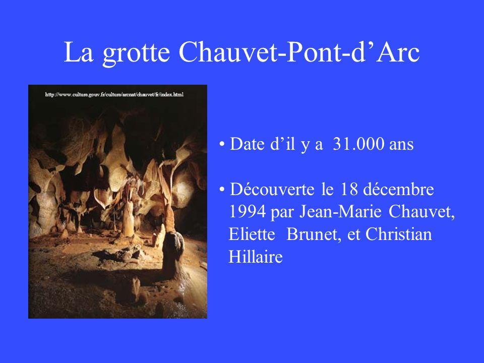 La grotte Chauvet-Pont-dArc http://www.culture.gouv.fr/culture/arcnat/chauvet/fr/index.html Date dil y a 31.000 ans Découverte le 18 décembre 1994 par