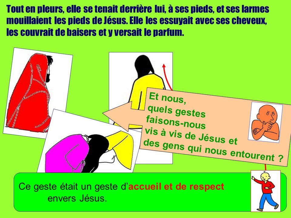 Tout en pleurs, elle se tenait derrière lui, à ses pieds, et ses larmes mouillaient les pieds de Jésus.