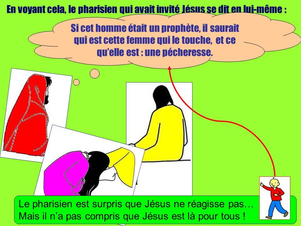 En voyant cela, le pharisien qui avait invité Jésus se dit en lui-même : Si cet homme était un prophète, il saurait qui est cette femme qui le touche, et ce quelle est : une pécheresse.