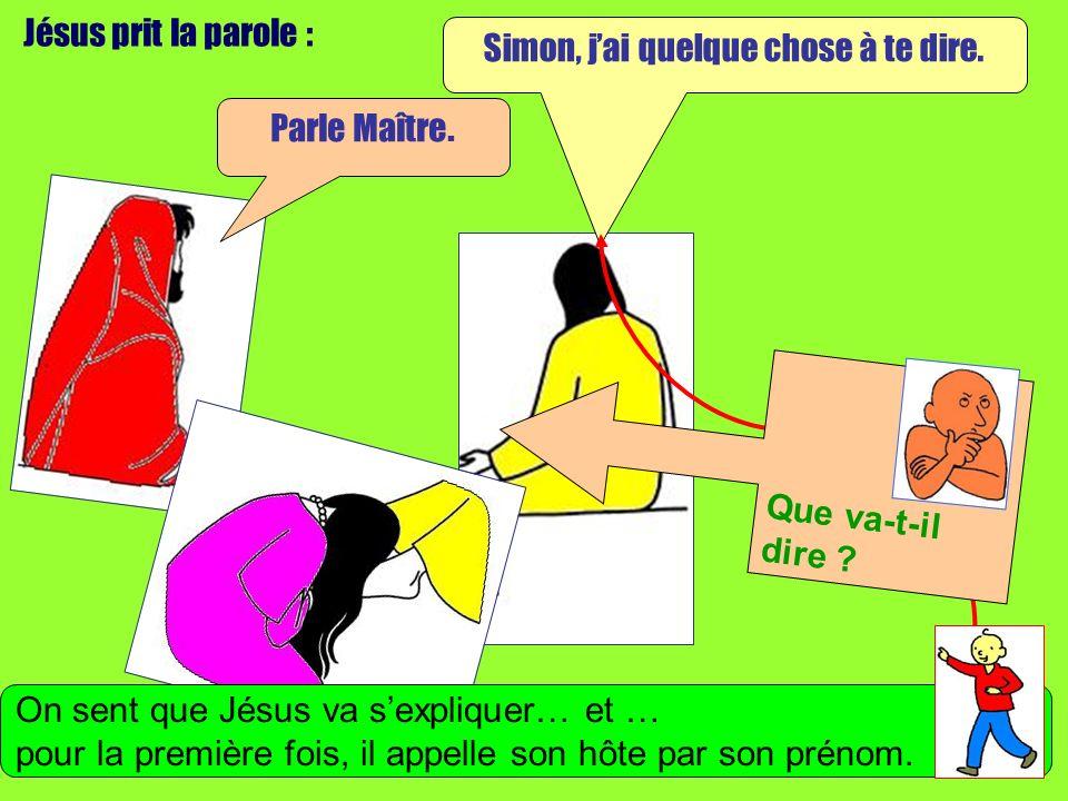 Jésus prit la parole : Simon, jai quelque chose à te dire.