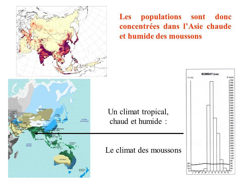 Comment peut-on expliquer cette répartition ? - par les climats Asie froide peu peuplée Asie des déserts peu peuplée