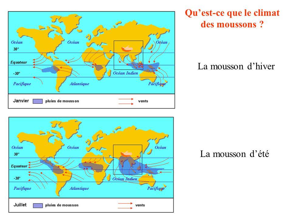 Le climat des moussons Les populations sont donc concentrées dans lAsie chaude et humide des moussons Un climat tropical, chaud et humide :