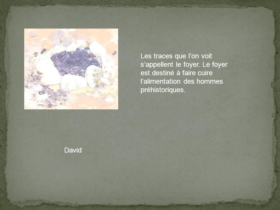 Les traces que lon voit sappellent le foyer. Le foyer est destiné à faire cuire lalimentation des hommes préhistoriques. David