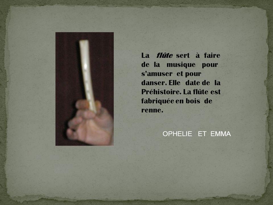 La flûte sert à faire de la musique pour samuser et pour danser. Elle date de la Préhistoire. La flûte est fabriquée en bois de renne. OPHELIE ET EMMA