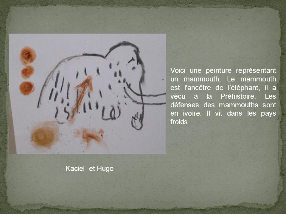 Kaciel et Hugo Voici une peinture représentant un mammouth. Le mammouth est lancêtre de léléphant, il a vécu à la Préhistoire. Les défenses des mammou