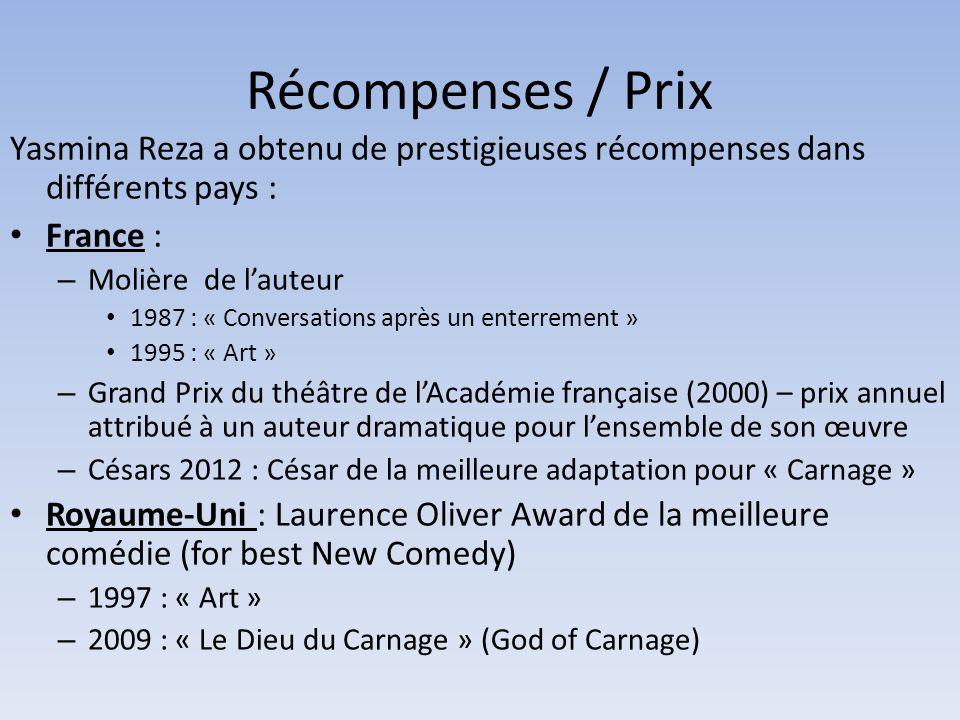 Récompenses / Prix Yasmina Reza a obtenu de prestigieuses récompenses dans différents pays : France : – Molière de lauteur 1987 : « Conversations aprè
