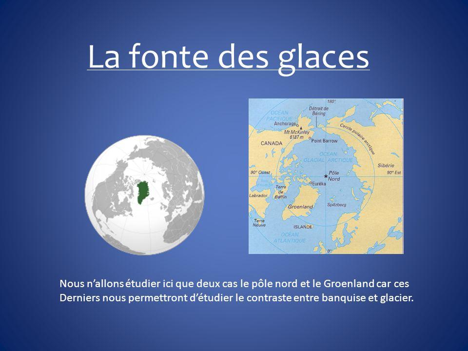Le Groenland Caractéristiques 3 fois la taille de la France Formation des glaciers il y a 4.1 millions dannées Une zone touché par la fonte des glaces Un bloc de 250km² se détache Un bloc de la taille de paris se détache La monté des eaux Si les glaces fondait le niveau de la mer montrait de 90cm.