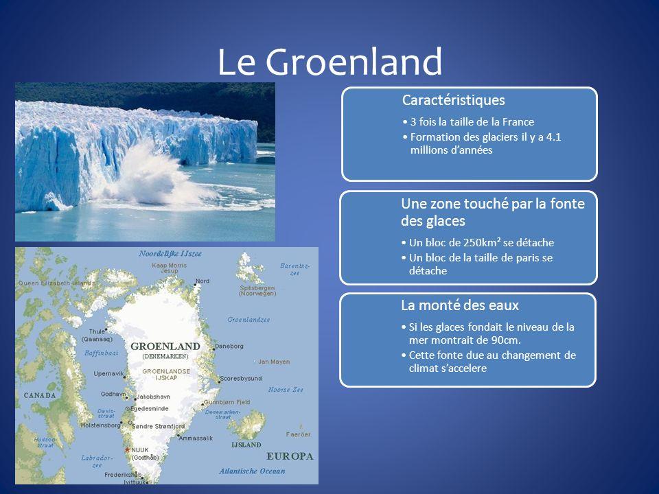 Le Groenland Caractéristiques 3 fois la taille de la France Formation des glaciers il y a 4.1 millions dannées Une zone touché par la fonte des glaces