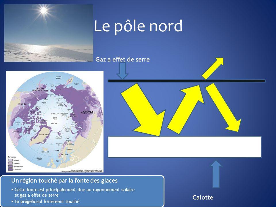 Le pôle nord Un région touché par la fonte des glaces Cette fonte est principalement due au rayonnement solaire et gaz a effet de serre Le prégeliosol