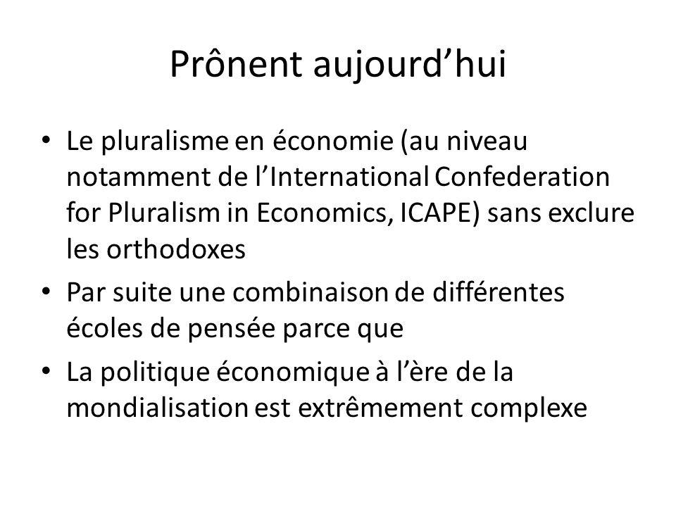 Prônent aujourdhui Le pluralisme en économie (au niveau notamment de lInternational Confederation for Pluralism in Economics, ICAPE) sans exclure les orthodoxes Par suite une combinaison de différentes écoles de pensée parce que La politique économique à lère de la mondialisation est extrêmement complexe