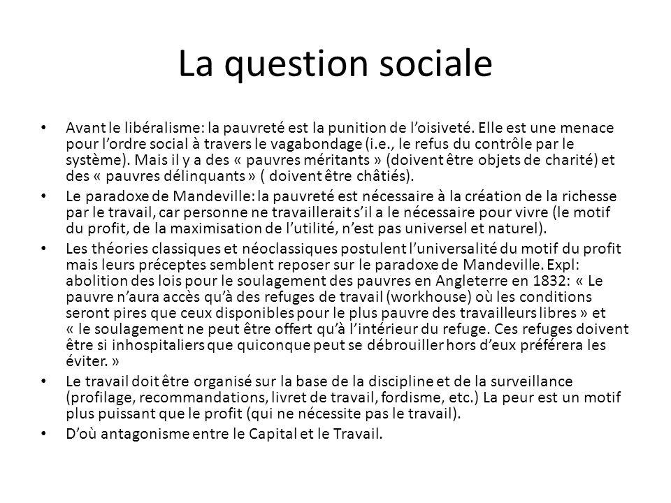 La question sociale Avant le libéralisme: la pauvreté est la punition de loisiveté.