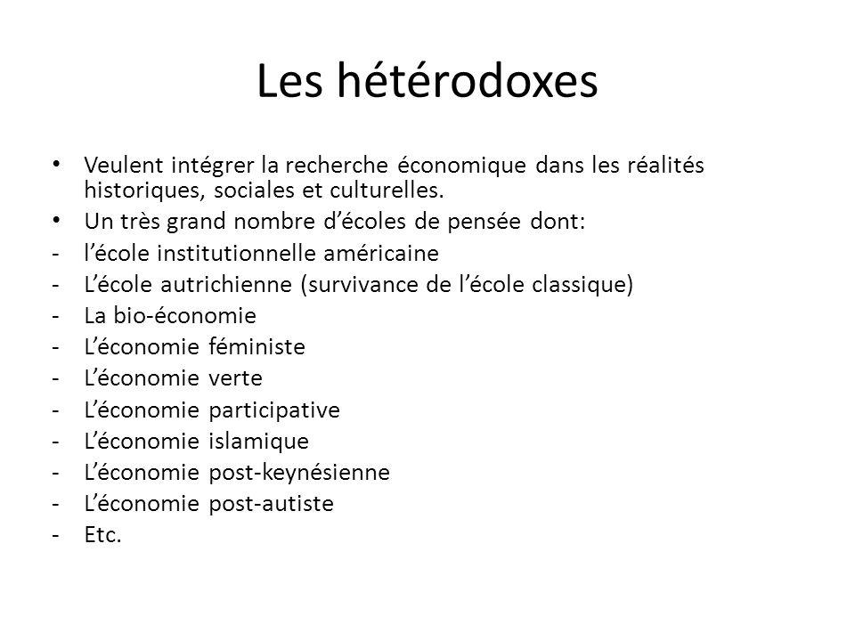 Les hétérodoxes Veulent intégrer la recherche économique dans les réalités historiques, sociales et culturelles.