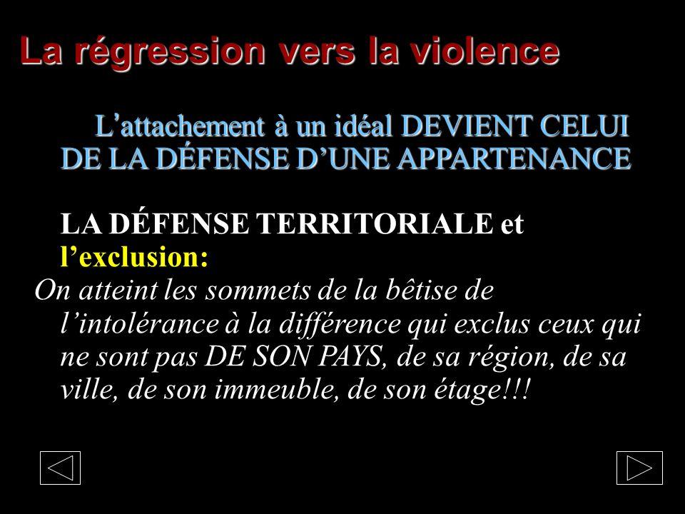 La violence et COMBLER le MANQUE Lattachement à un idéal peut conduire à la défense de son IDENTITÉ SOCIALE RELIGIEUSE ETHNIQUE Lattachement à un idéal peut conduire à la défense de son IDENTITÉ SOCIALE RELIGIEUSE ETHNIQUE avec une conviction terroriste (linquisition, le communisme, le fascisme, les talibans…) Il se retourne avec violence contre un autre, contre une ethnie, contre une religion, contre tout ce qui pourrait mettre en péril son idéal, son identité…
