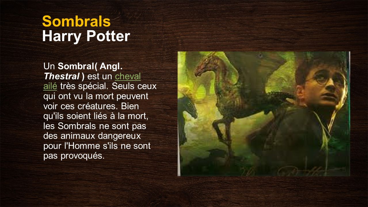 Sombrals Harry Potter Un Sombral( Angl. Thestral ) est un cheval ailé très spécial. Seuls ceux qui ont vu la mort peuvent voir ces créatures. Bien qu'