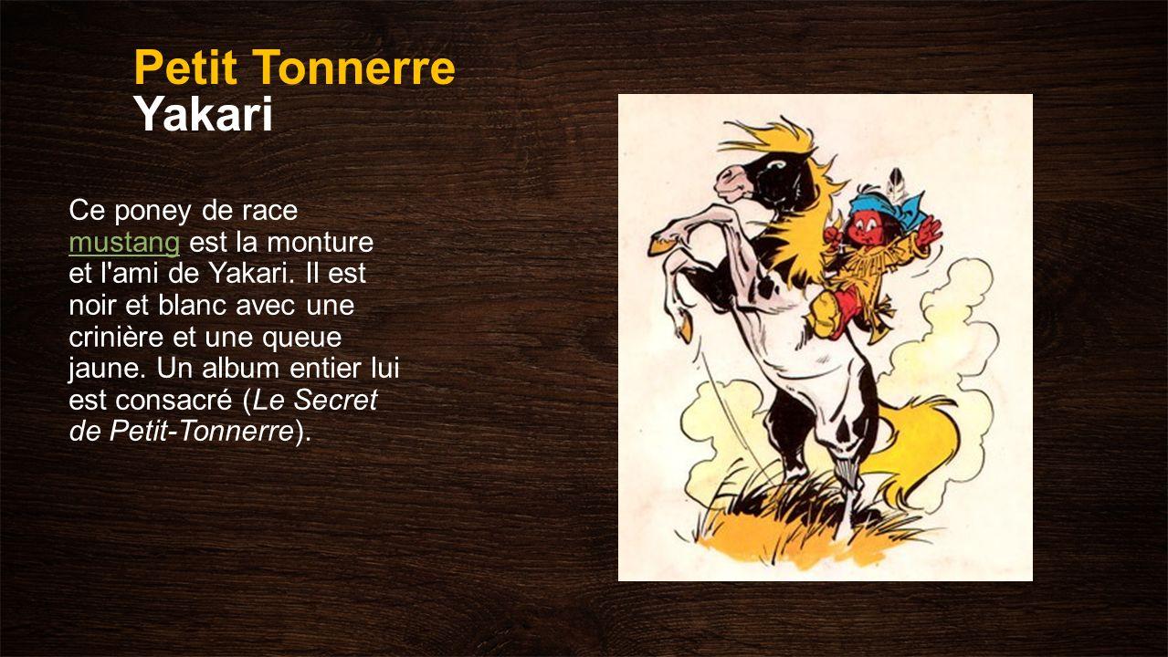 Petit Tonnerre Yakari Ce poney de race mustang est la monture et l'ami de Yakari. Il est noir et blanc avec une crinière et une queue jaune. Un album