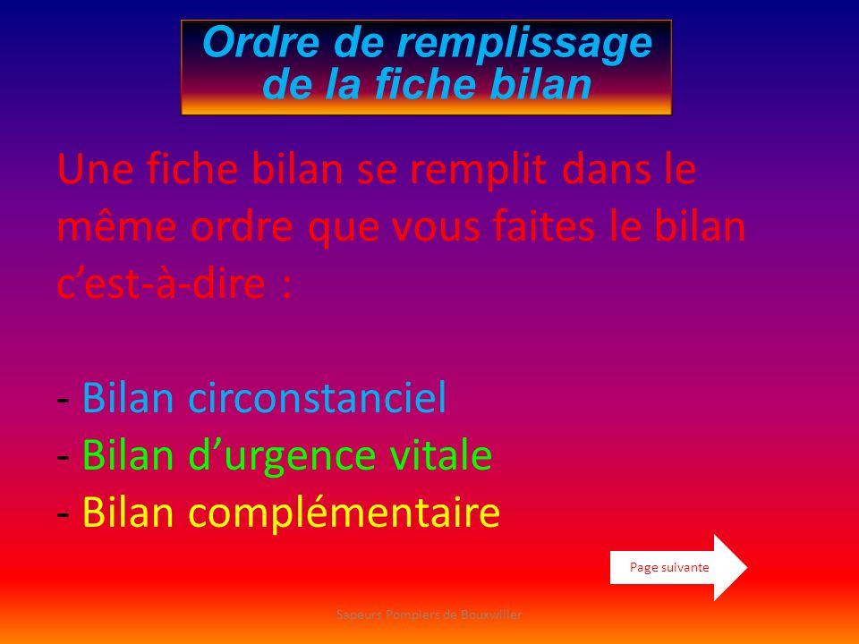 Ordre de remplissage de la fiche bilan Une fiche bilan se remplit dans le même ordre que vous faites le bilan cest-à-dire : - Bilan circonstanciel - B