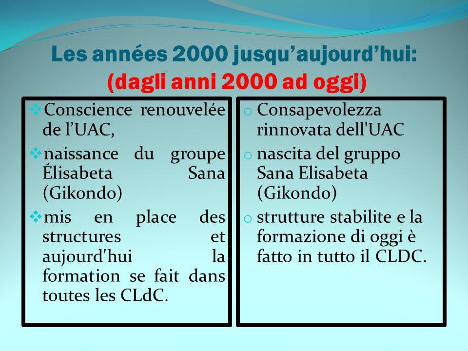 Les années 2000 jusquaujourdhui: (dagli anni 2000 ad oggi) Conscience renouvelée de lUAC, naissance du groupe Élisabeta Sana (Gikondo) mis en place de