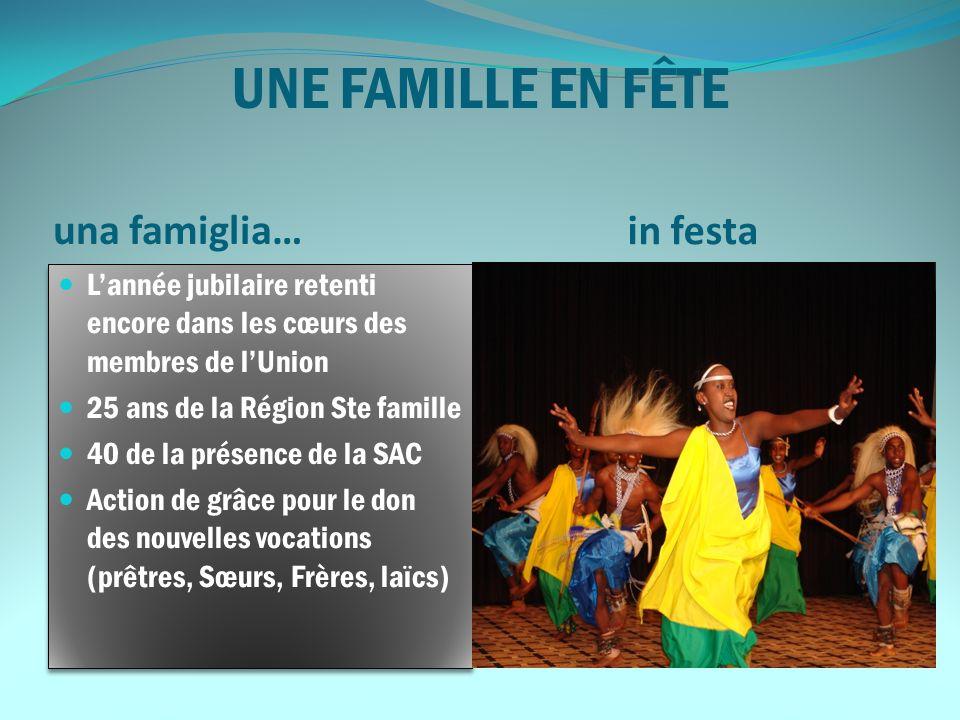 UNE FAMILLE EN FÊTE una famiglia… in festa Lannée jubilaire retenti encore dans les cœurs des membres de lUnion 25 ans de la Région Ste famille 40 de