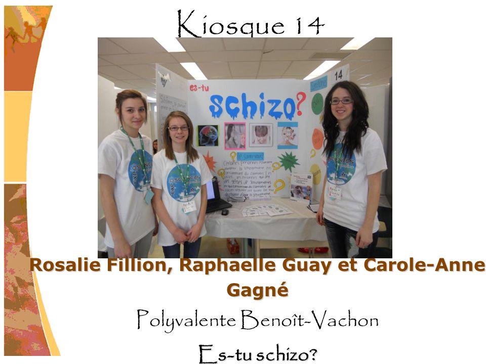 Rosalie Fillion, Raphaelle Guay et Carole-Anne Gagné Polyvalente Benoît-Vachon Es-tu schizo? Kiosque 14