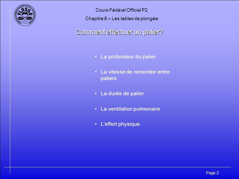 Cours Fédéral Officiel P2 Chapitre 8 – Les tables de plongée Page 2 Comment effectuer un palier? La profondeur du palier La vitesse de remontée entre