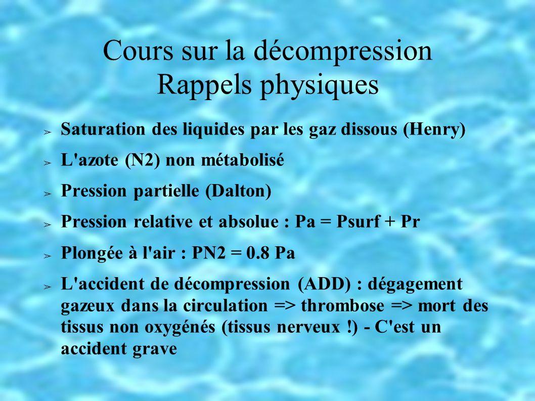 Cours sur la décompression Rappels physiques Saturation des liquides par les gaz dissous (Henry) L azote (N2) non métabolisé Pression partielle (Dalton) Pression relative et absolue : Pa = Psurf + Pr Plongée à l air : PN2 = 0.8 Pa L accident de décompression (ADD) : dégagement gazeux dans la circulation => thrombose => mort des tissus non oxygénés (tissus nerveux !) - C est un accident grave