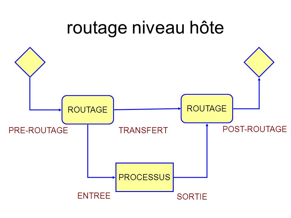 routage niveau hôte ROUTAGE PROCESSUS PRE-ROUTAGE POST-ROUTAGE TRANSFERT ROUTAGE ENTREE SORTIE