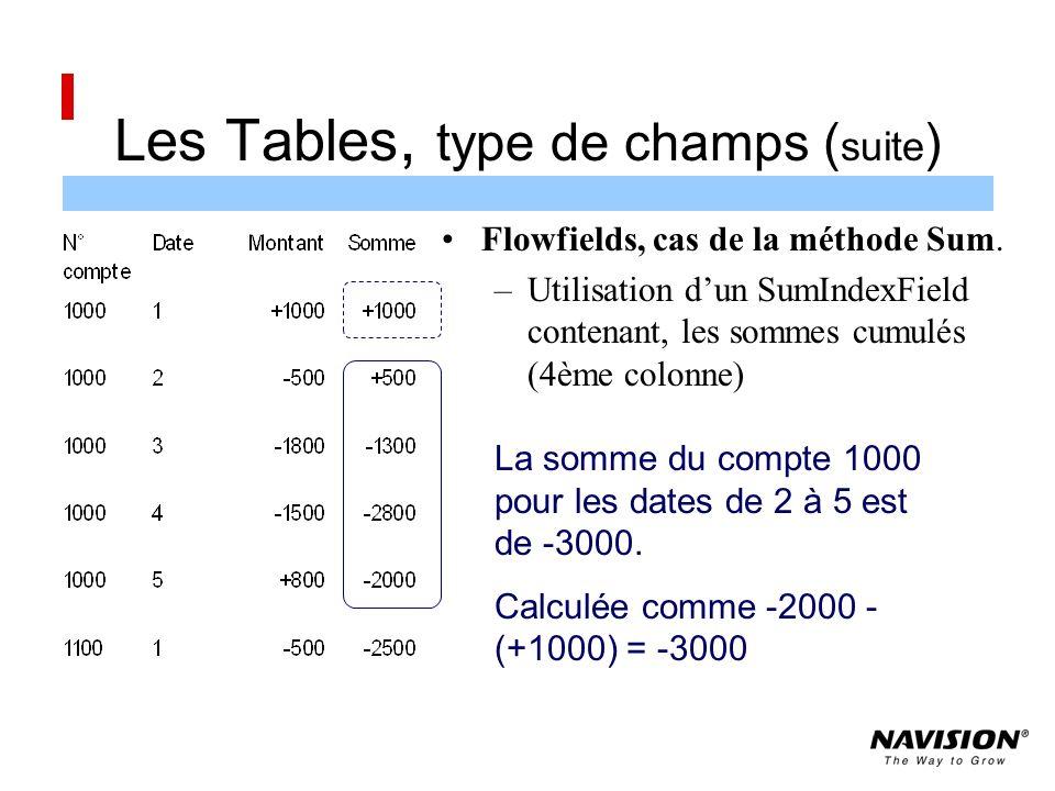 Les Tables, type de champs ( suite ) Flowfields, cas de la méthode Sum.