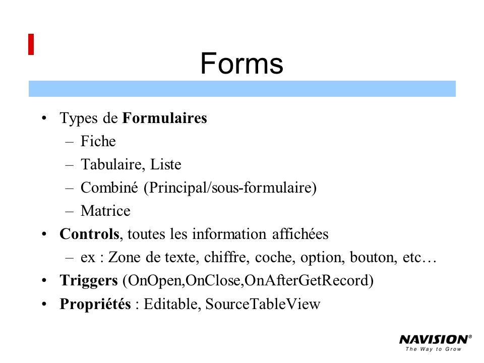 Forms Types de Formulaires –Fiche –Tabulaire, Liste –Combiné (Principal/sous-formulaire) –Matrice Controls, toutes les information affichées –ex : Zone de texte, chiffre, coche, option, bouton, etc… Triggers (OnOpen,OnClose,OnAfterGetRecord) Propriétés : Editable, SourceTableView