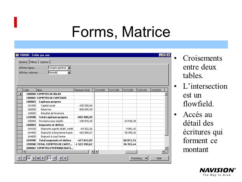 Forms, Matrice Croisements entre deux tables.Lintersection est un flowfield.