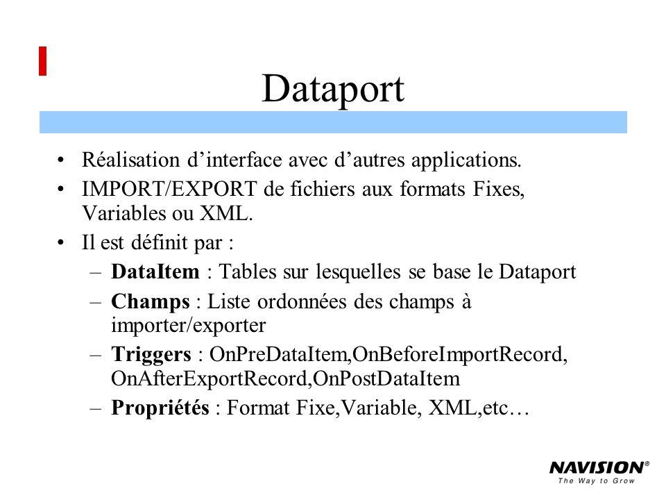Dataport Réalisation dinterface avec dautres applications.