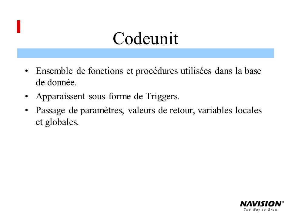 Codeunit Ensemble de fonctions et procédures utilisées dans la base de donnée.