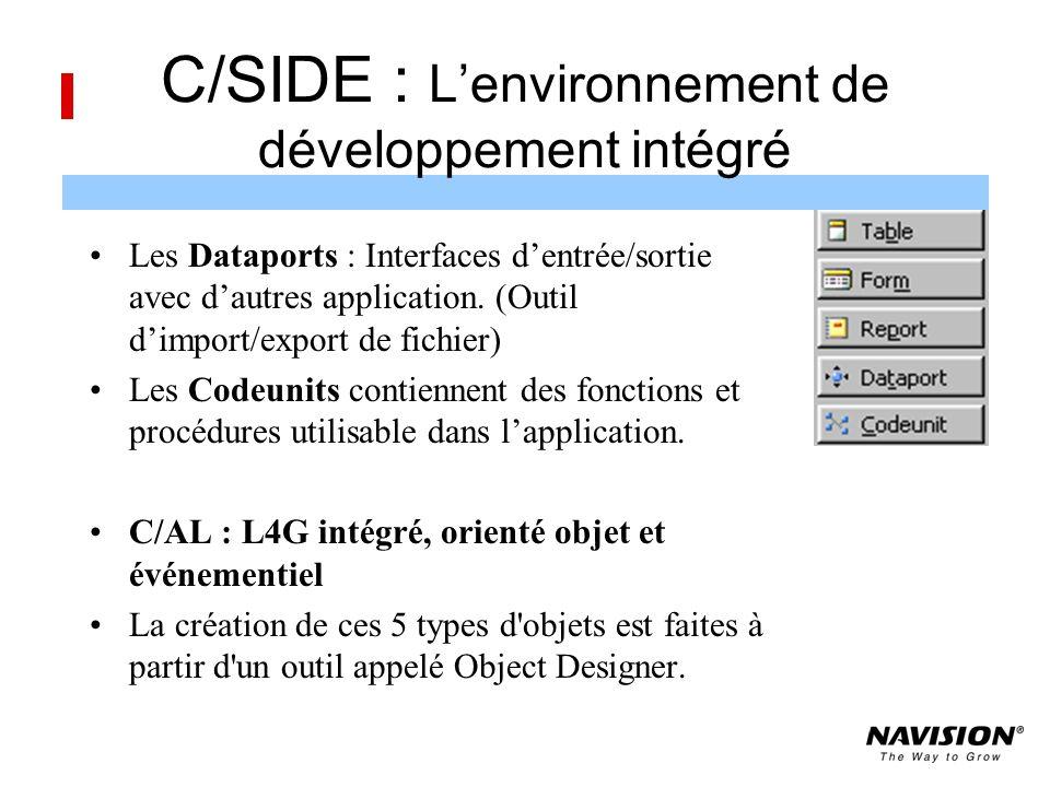 C/SIDE : Lenvironnement de développement intégré Les Dataports : Interfaces dentrée/sortie avec dautres application.