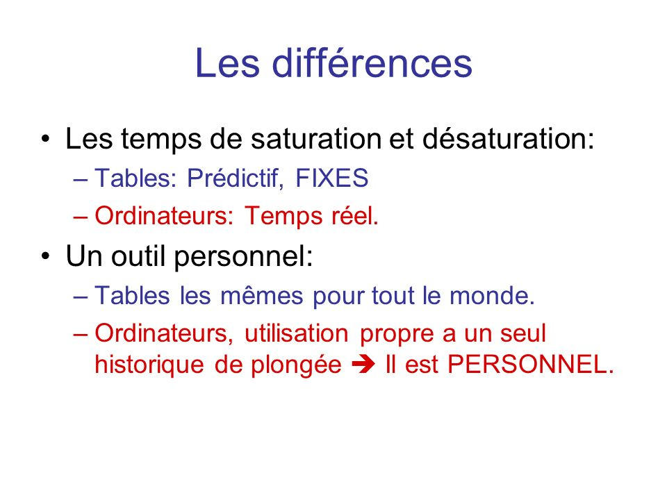 Les différences Les temps de saturation et désaturation: –Tables: Prédictif, FIXES –Ordinateurs: Temps réel. Un outil personnel: –Tables les mêmes pou