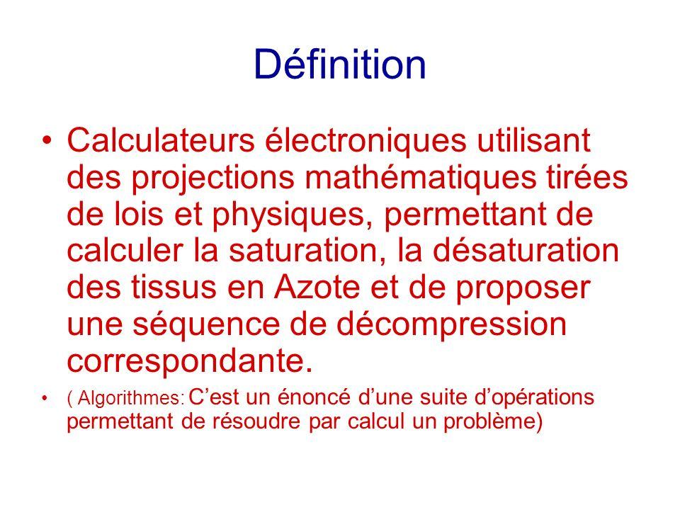 Historique/ Modèles Historique: –1950 premiers décompressimètres –1983 Electronique, Bülhman (def de la tension max de N², ratio profondeur + Tissus)= 1 er Ordis Grands publics, Aladin.
