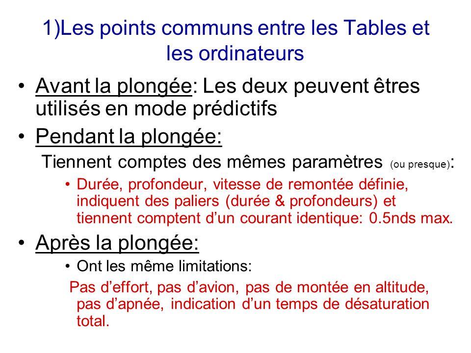 1)Les points communs entre les Tables et les ordinateurs Avant la plongée: Les deux peuvent êtres utilisés en mode prédictifs Pendant la plongée: Tien