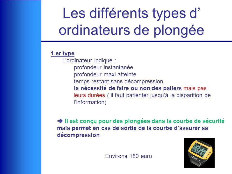Les différents types d ordinateurs de plongée 1 er type Lordinateur indique : profondeur instantanée profondeur maxi atteinte temps restant sans décom