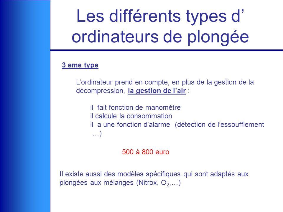 Les différents types d ordinateurs de plongée 3 eme type Lordinateur prend en compte, en plus de la gestion de la décompression, la gestion de lair :