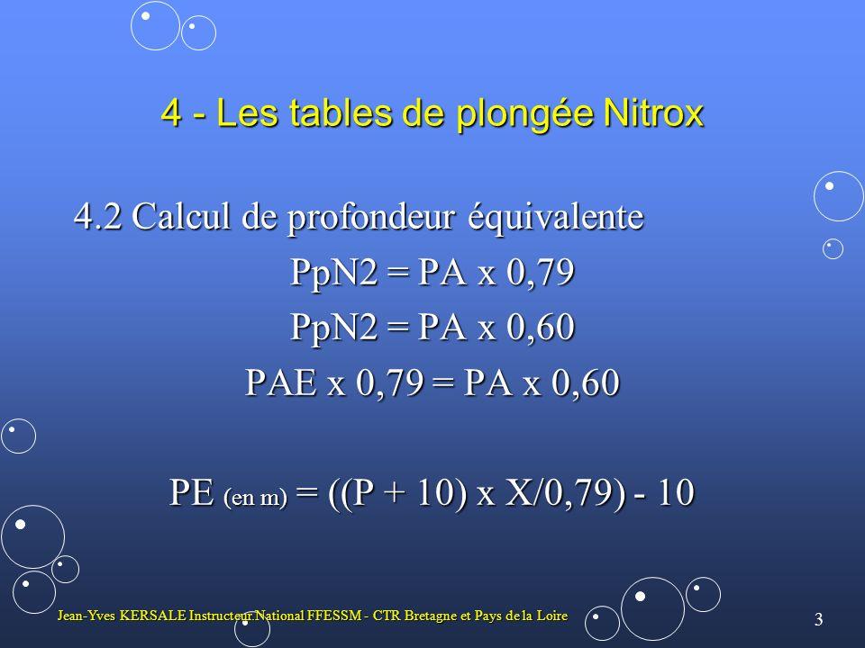 4 Jean-Yves KERSALE Instructeur.National FFESSM - CTR Bretagne et Pays de la Loire 4 - Les tables de plongée Nitrox