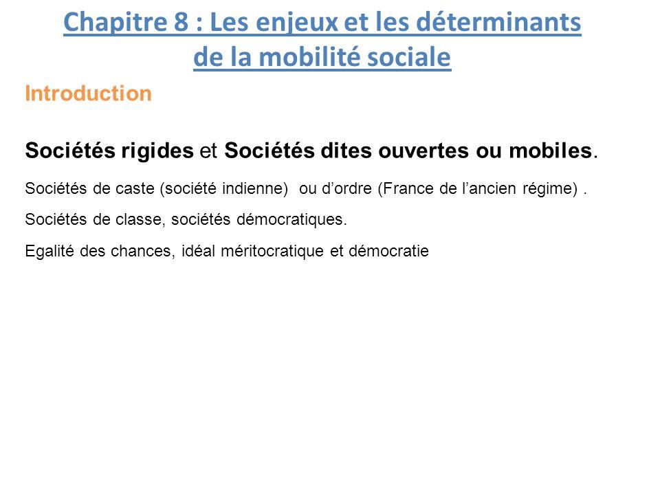 Chapitre 8 : Les enjeux et les déterminants de la mobilité sociale Sociétés rigides et Sociétés dites ouvertes ou mobiles.