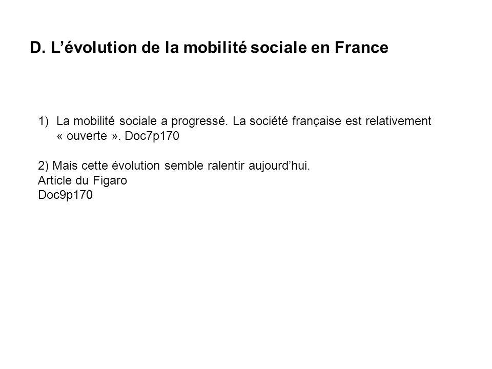 D.Lévolution de la mobilité sociale en France 1)La mobilité sociale a progressé.