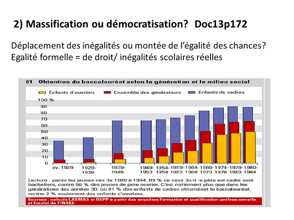 2) Massification ou démocratisation.