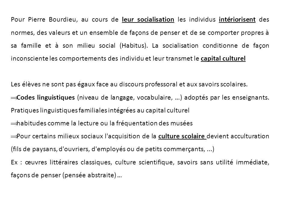 Pour Pierre Bourdieu, au cours de leur socialisation les individus intériorisent des normes, des valeurs et un ensemble de façons de penser et de se comporter propres à sa famille et à son milieu social (Habitus).