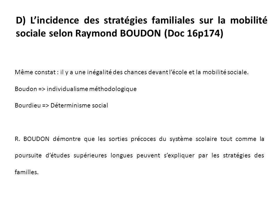 D) Lincidence des stratégies familiales sur la mobilité sociale selon Raymond BOUDON (Doc 16p174) Même constat : il y a une inégalité des chances devant lécole et la mobilité sociale.