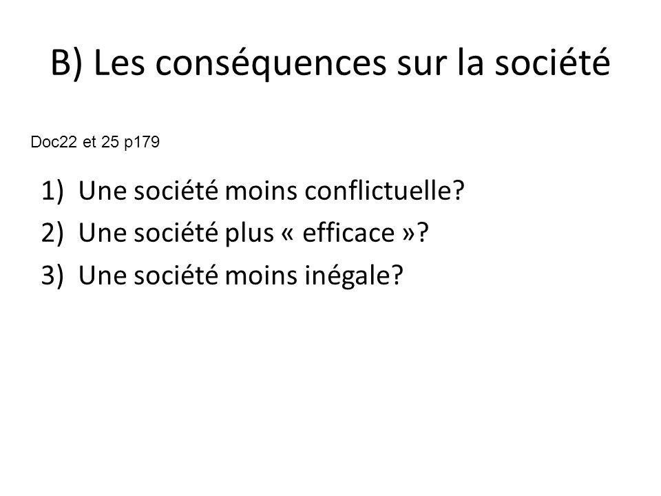 B) Les conséquences sur la société 1)Une société moins conflictuelle.